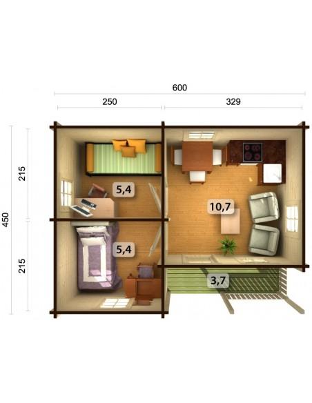 Résidence de loisirs Sandra 27 m² - Plancher inclus - Bois massif 70 mm
