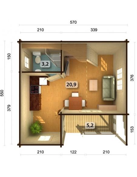 Résidence de loisirs Emily 31 m² - Plancher inclus - Bois massif 70 mm