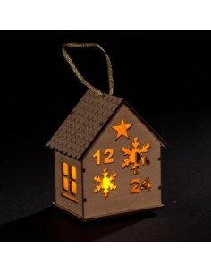 Chalet en bois led blanc chaud L.10 cm - Féeric lights  and christmas.