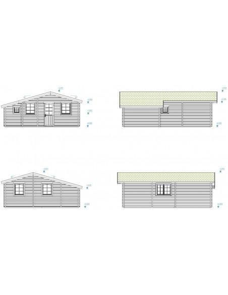 Résidence de loisirs Emily 39 m² en bois massif 70 mm