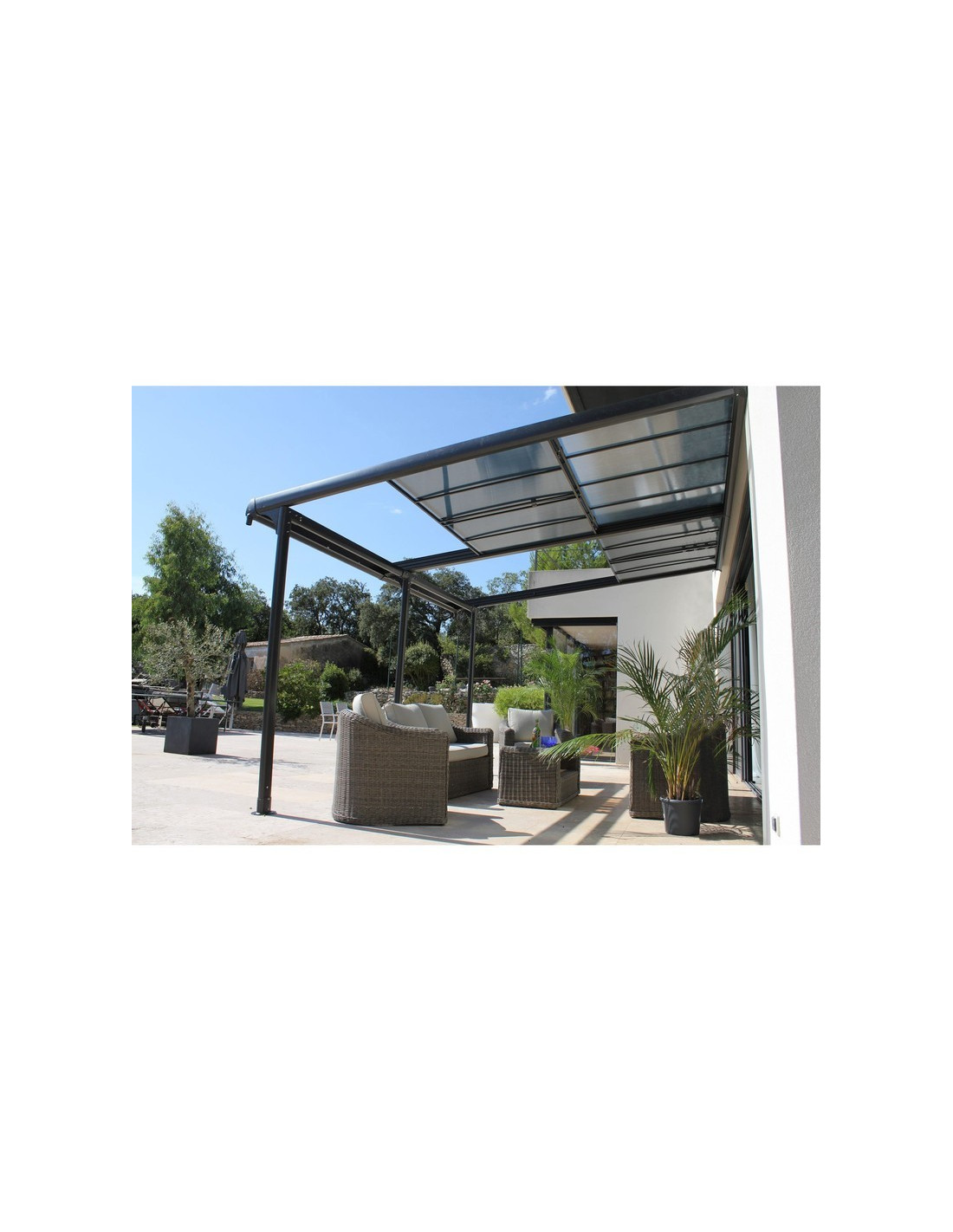 Pergolas adoss e en aluminium azura 3 5 x 4 m couleurs du monde - Tonnelle autoportee avec toile retractable ...