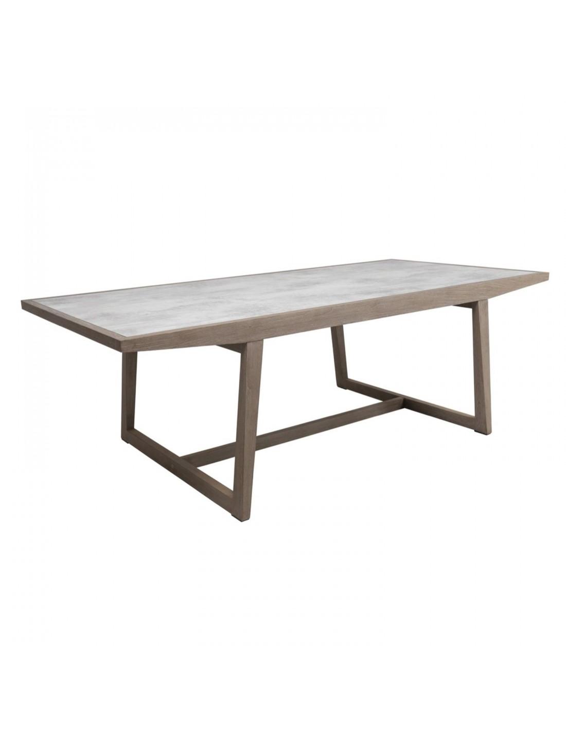 Table En Béton Ciré Et Bois table skaal 200 x 105 cm teck duratek hpl béton ciré - les jardins