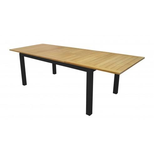 Table de jardin Tempo 180/240*100 cm aluminium /Teck FSC - Proloisirs