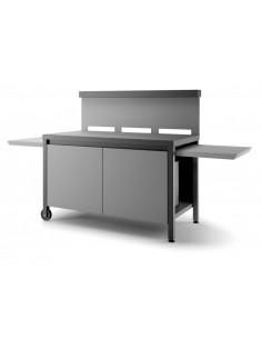 Table roulante Acier noir et gris clair - TRCA NG - Pour plancha