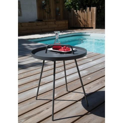 table basse flower ronde 45 cm acier plateau amovible. Black Bedroom Furniture Sets. Home Design Ideas