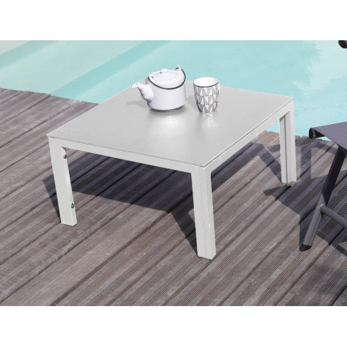 Table basse CORTES 60 x 60 cm aluminium Grey ou Blanc - Proloisirs 370fb0299bb9