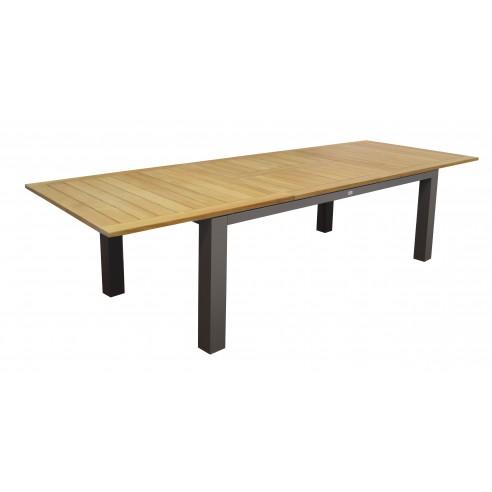 Table de jardin Flo structure aluminium Grey et plateau Teck - Océo