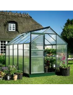 Serre Popular HALLS 5 m² laquée verte - Polycarbonate de 4 mm