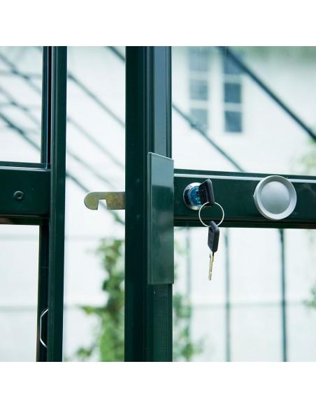 Serre Magnum HALLS 9.9 m² laquée verte en verre trempé 3 mm