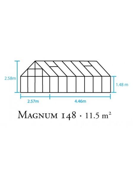 Serre Magnum HALLS 11.5 m² laquée verte en verre trempé 3 mm