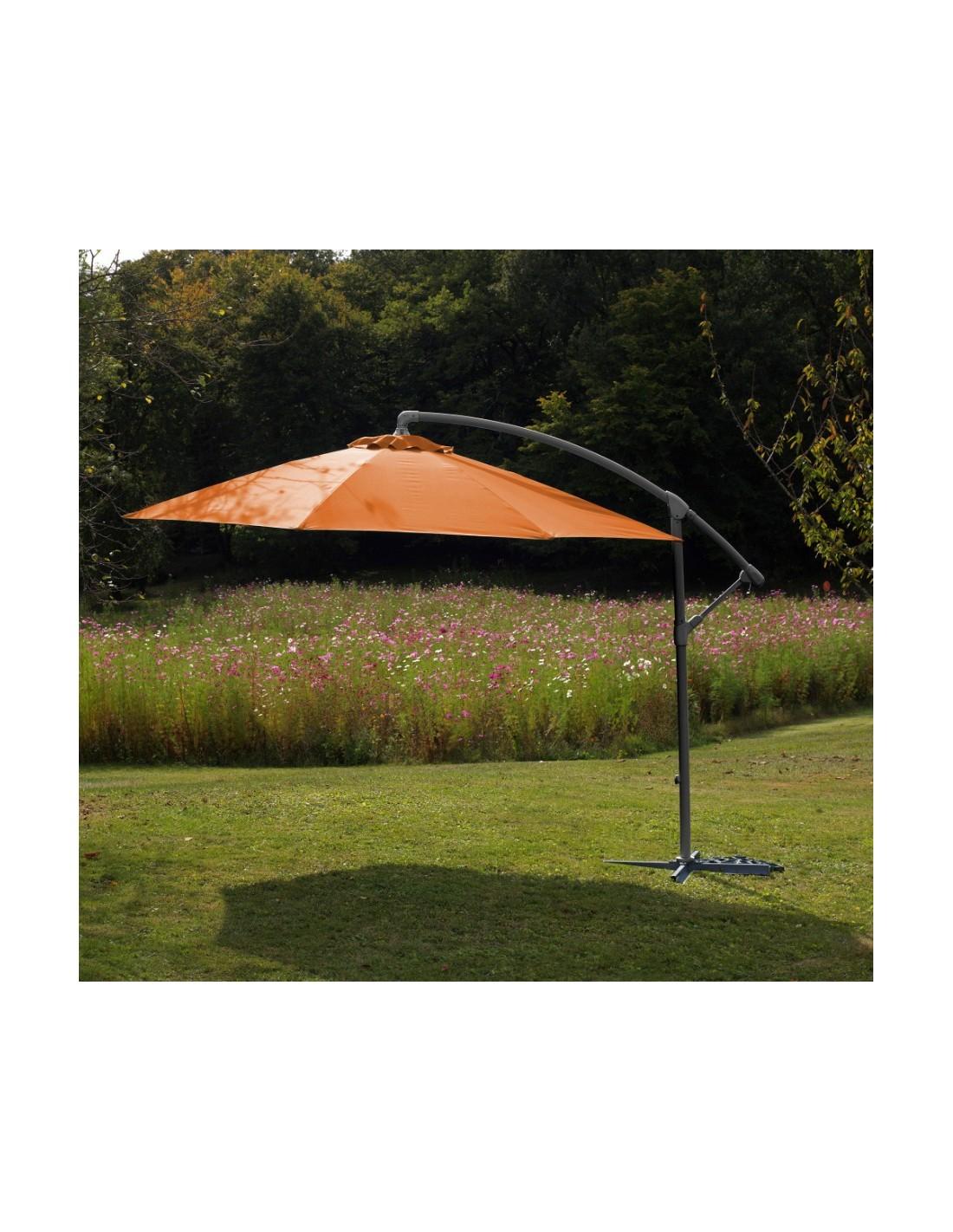 parasol d port 3 m acier grey inclinable avec manivelle. Black Bedroom Furniture Sets. Home Design Ideas