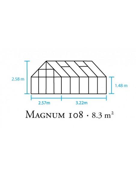 Serre Magnum HALLS 8.2 m² laquée verte en polycarbonate 6 mm