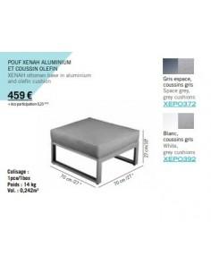 Module Xenah aluminium Gris espace et coussin Olefin gris - Les Jardins