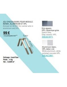 Jeu d'accoudoirs pour module Xenah aluminium et HPL - Les Jardins