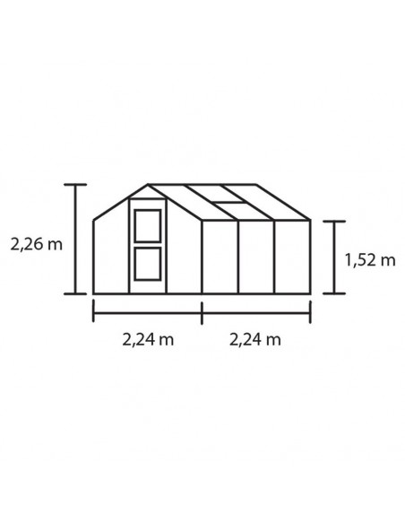 Serre Compact JULIANA+polycarbonate 10mm - Naturel ou anthracite de 5 à 8.2 m²
