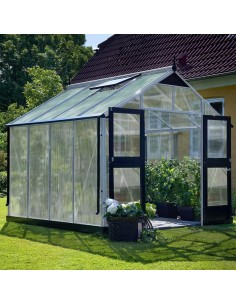 Serre Premium JULIANA+polycarbonate 10mm - Naturel ou anthracite de 8.8 à 13 m²