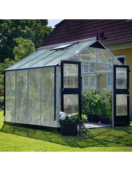 Serre Premium JULIANA+polycarbonate 10mm - Naturel ou anthracite de 8.8 à 13 m²