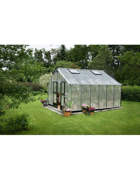Serre Gartner JULIANA+polycarbonate 10mm - Naturel ou anthracite de 16.2 à 21.4 m²
