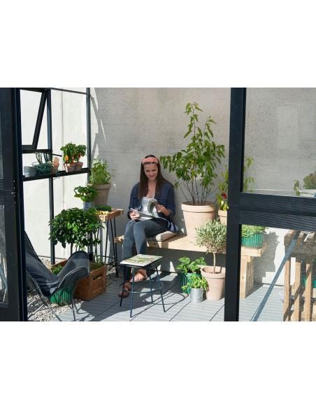 Serre véranda murale en verre trempé+embase - Juliana 4.4 m² coloris au choix
