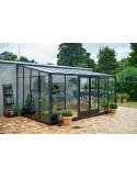 Serre véranda murale en verre trempé+embase - Juliana 12.9 m² coloris au choix