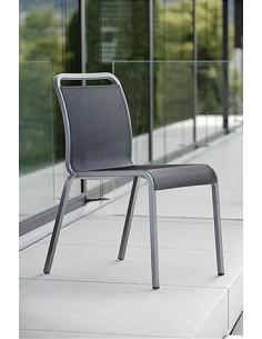Chaise Oskar aluminium Graphite assise textilène Gris Argent - Stern