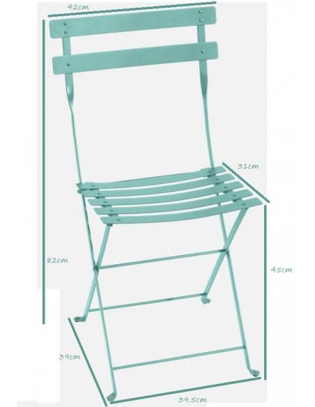 Taille Chaise de jardin pliante Bistro métal collection Fermob