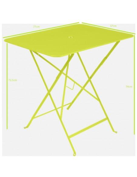 Taille Table pliante métal rectangle 77x57cm Bistro - 4 places - Fermob