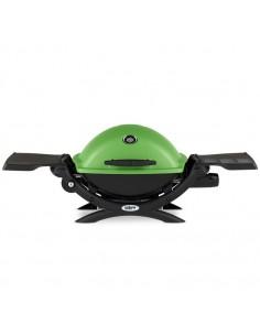 Barbecue à gaz Weber Q 1200 vert avec tablettes - Serres et abris