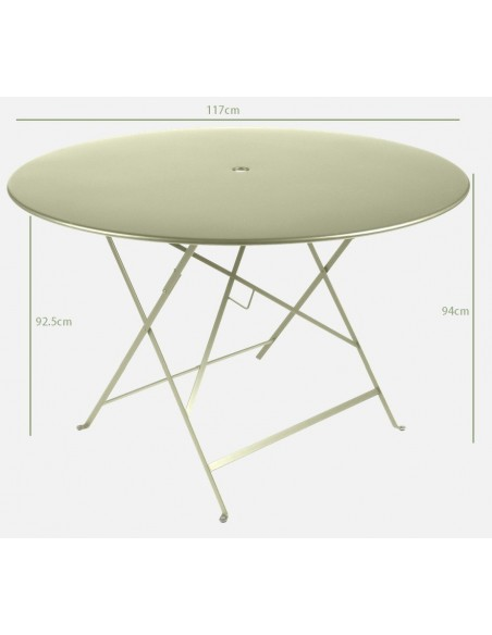 Taille Table pliante métal ronde Ø 117cm Bistro collection Fermob