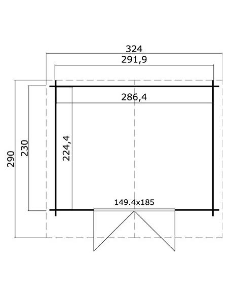 Abri de jardin Baltimore 6.7 m² grande avancée de toit en bois massif 28 mm