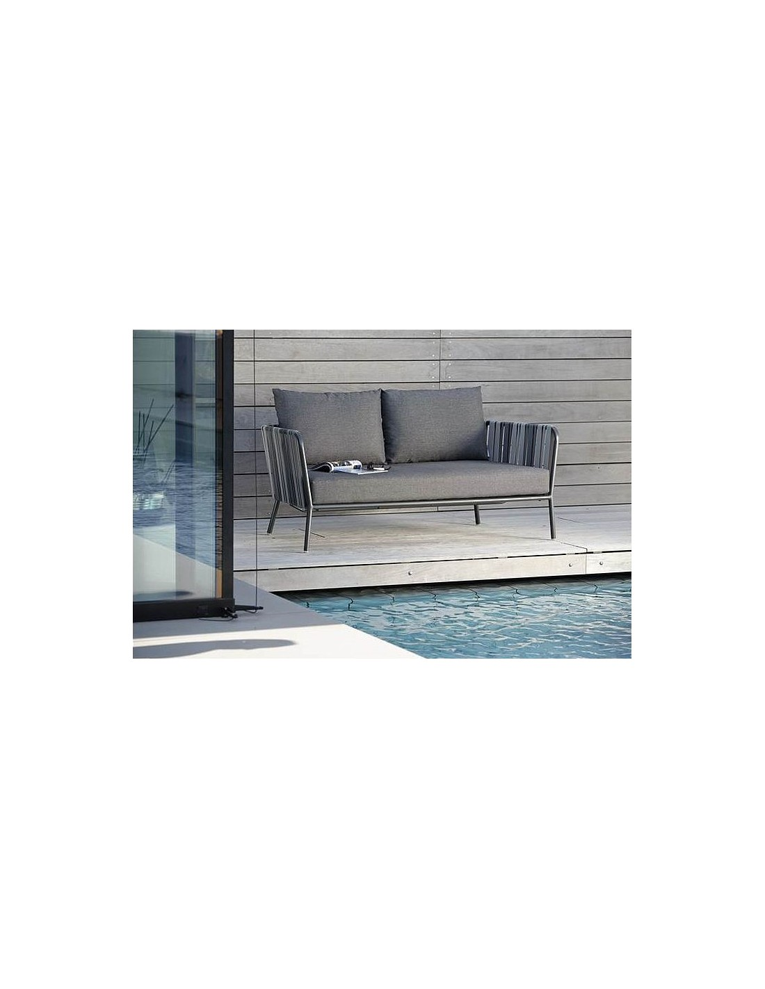Canap 2 places space aluminium anthracite sangle gris - Coussin canape gris ...