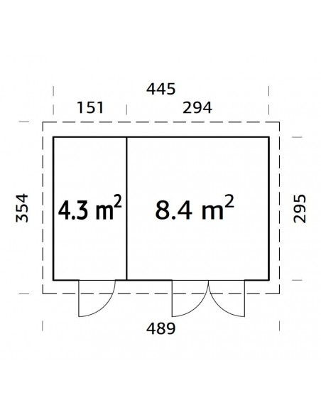 Abri de jardin Lara 13 m² en bois massif 28 mm