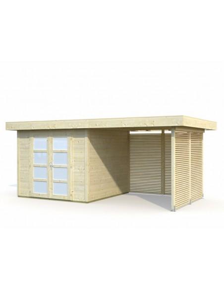Abri de jardin Lara 6.25 m² + Avancée 2.4 m en bois massif 28 mm