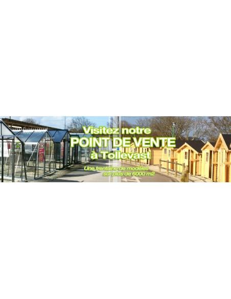 Abri de jardin Lara 8.75 m² + Avancée 2.4 m - Bois massif 28 mm