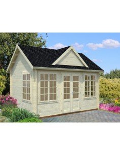 Abri de jardin Claudia 12 m² avec plancher - Bois massif 34 mm