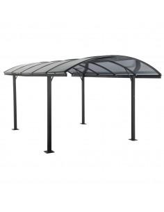 Carport Belize Noir - 2,94 x 5 x 2,23/2,50 - Aluminium, acier et polycarbonate