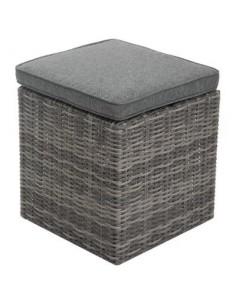 Pouf Rhodes carré Aluminium et résine coloris au choix - HESPERIDE