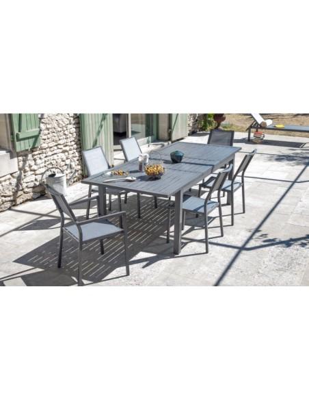 Table de jardin Milano Ice - avec allonge 220/300 x 110cm - Proloisirs