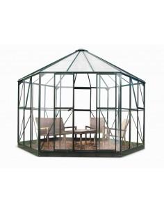 Serre de jardin Atrium verte 9 m²+embase HALLS - Verre trempé sécurit 3 mm
