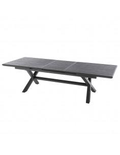 Table de jardin extensible Axiome - 10 places - aluminium effet bois - Hespéride