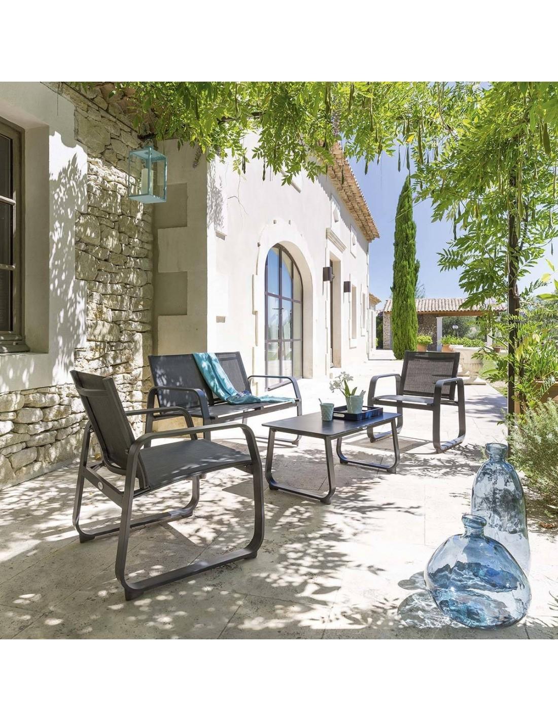 Salon de jardin gili 4 places aluminium et texaline - Mobilier jardin hesperide ...