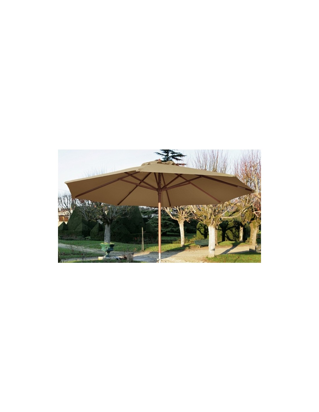parasol bois 3 m ouverture manivelle proloisirs. Black Bedroom Furniture Sets. Home Design Ideas