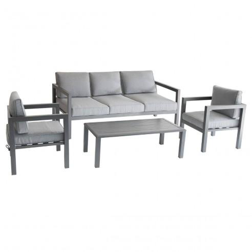 Salon de jardin Azua graphite - 5 places - Aluminium - Hespéride