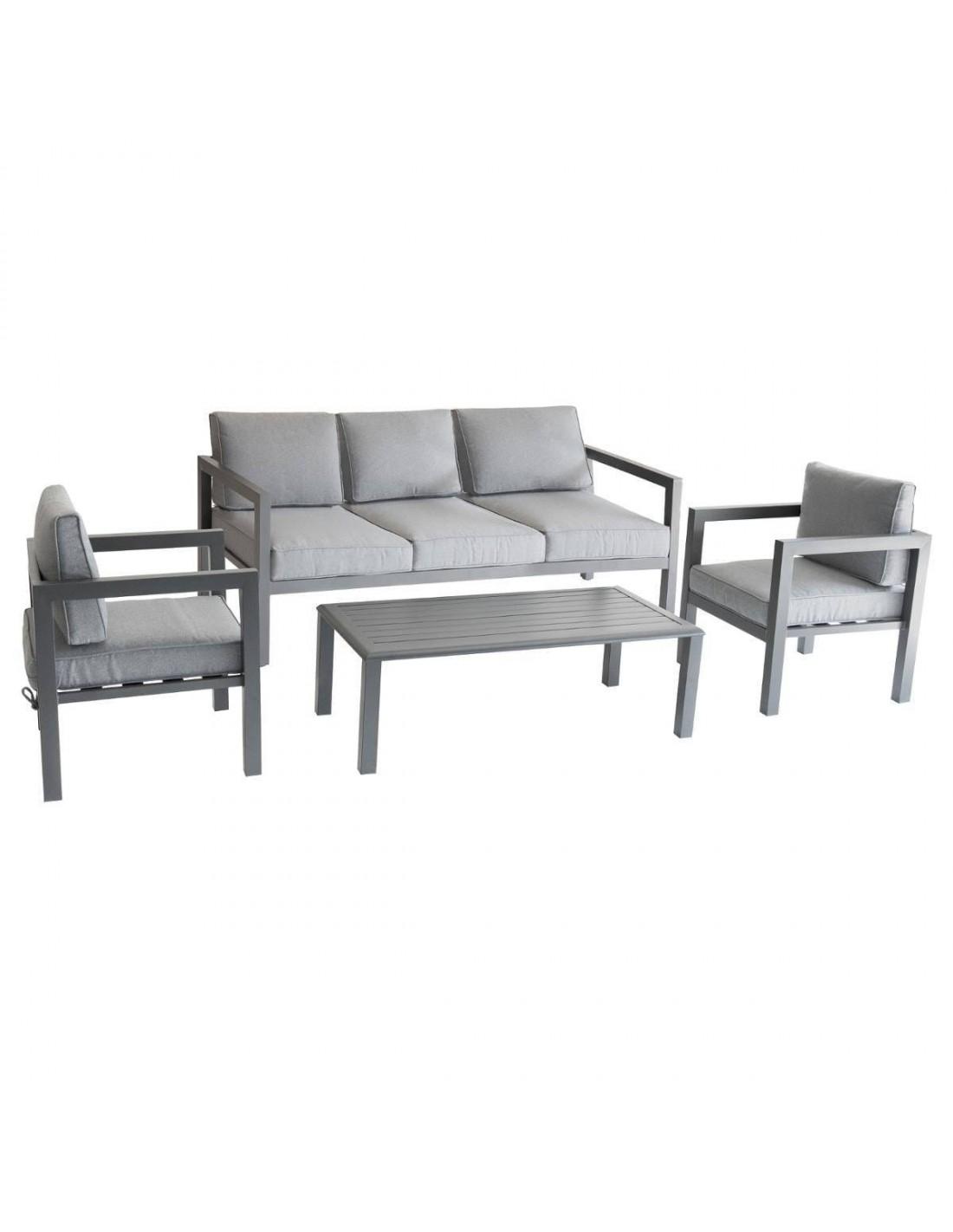 salon de jardin azua graphite 5 places aluminium. Black Bedroom Furniture Sets. Home Design Ideas