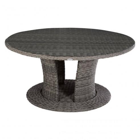 Table de jardin ronde Mooréa Terre d'ombre 8 places - D.160 cm - Terre d'ombre ou Naturae