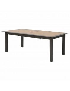 Table extensible Allure Praline / Honey 216/316 cm - Aluminium effet bois - Hespéride