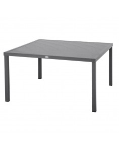 Table de jardin Piazza carrée Graphite - 8 places - Aluminium - Hespéride