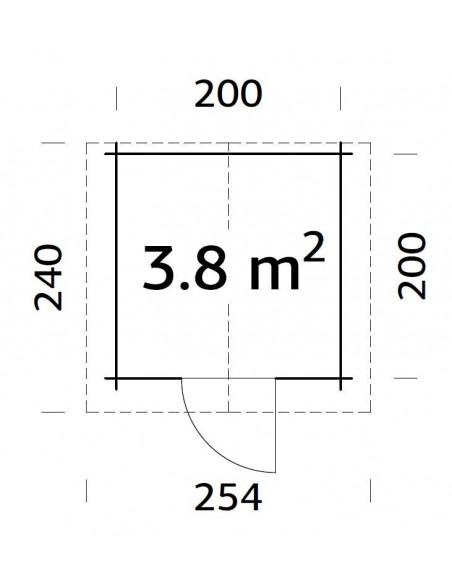 Abri de jardin Vivian 4 m² en bois massif 28 mm