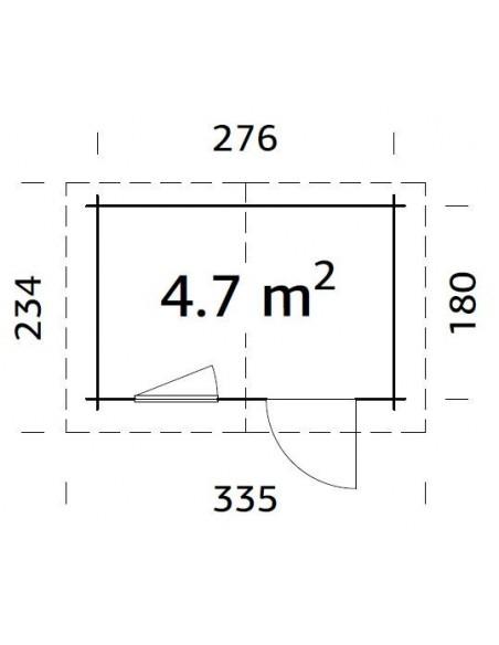 Abri de jardin Klara 5 m² - Bois massif 28 mm