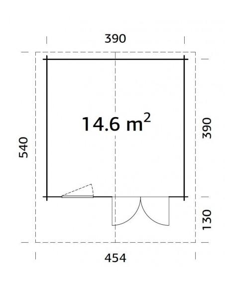 Abri de jardin Britta 15.2 m² - Bois massif 40 mm